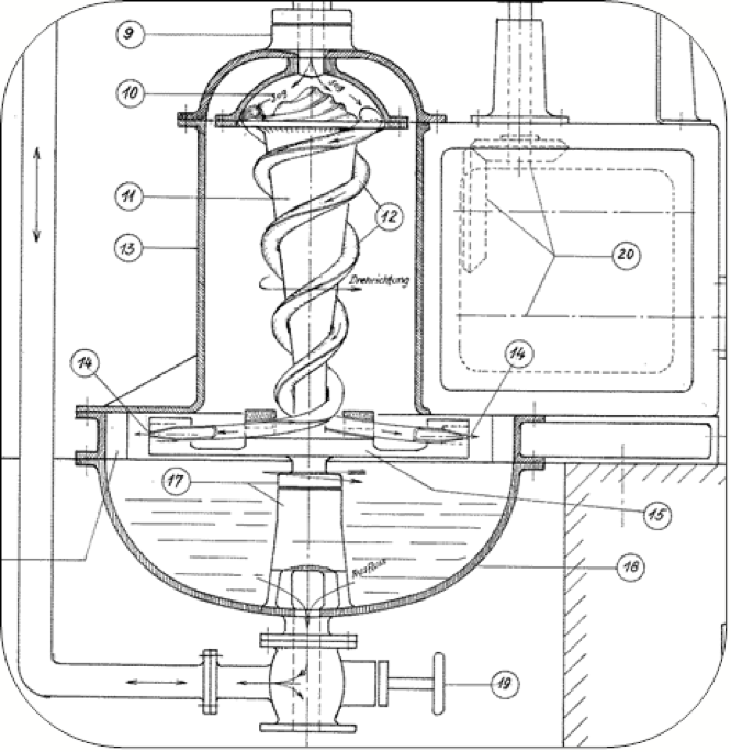 Schematic diagram of the Pneumatic Water Turbine.