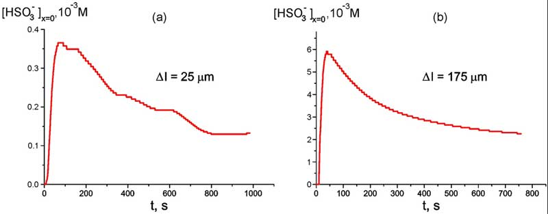 Time dependence of HSO-3 bulk concentration at Nafion interface