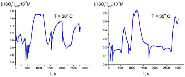 Time dependence of HSO3-  bulk concentration at Nafion interface